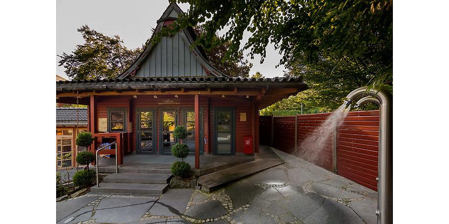 Der japanische Saunagarten in der Grugapark-Therme in Essen