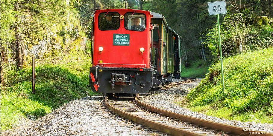 """Die Fahrt mit dem """"Wälderbähnle"""" auf den 5 km von Bezau nach Schwarzenberg dauert heute 20 Minuten"""
