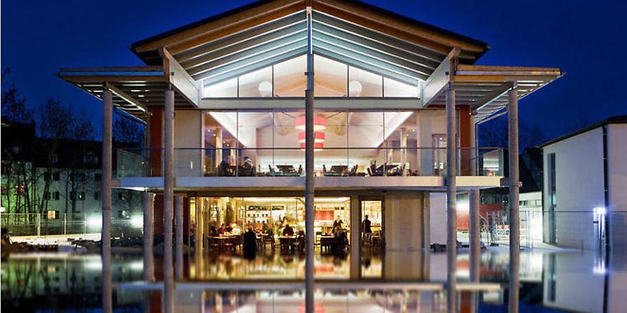 Wunderbare außenansicht des Restaurants Aposto in Bamberg