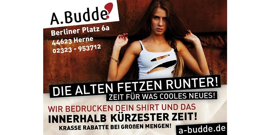 Lassen Sie bei A. Budde z.B. T-Shirts bedrucken und sparen Sie mit diesem Gutschein 31€!