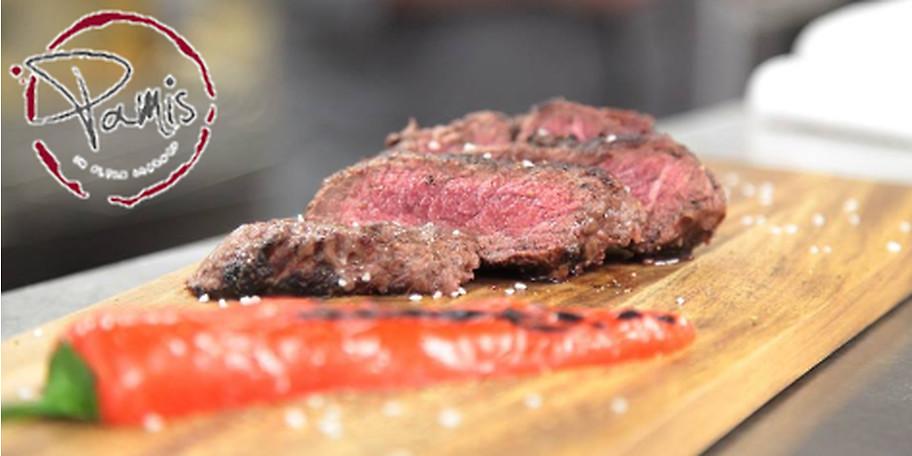 Genießen Sie ein frisches Steak aus dem 800°C Grill des Pamis in Essen