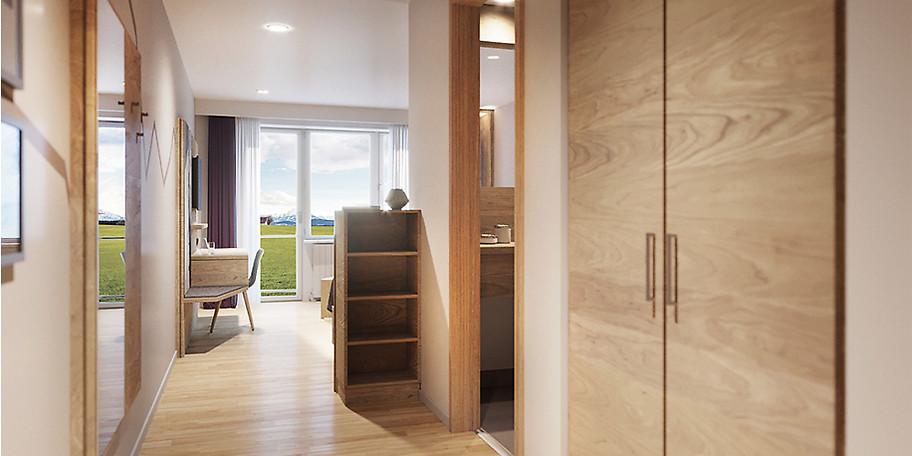 Freuen Sie sich auf funktionale, gemütliche und moderne Zimmer mit Balkon in Richtung Süden und Weitsicht